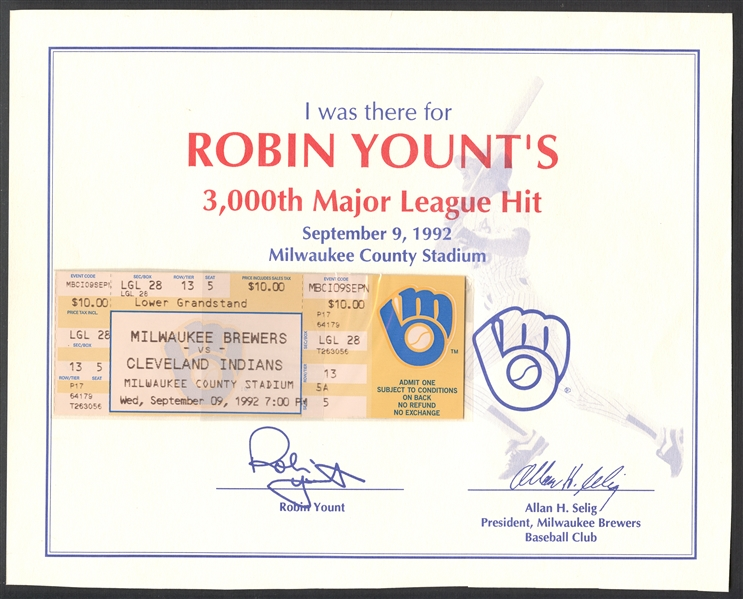 Robin Yount 3000th Hit Game Full Ticket with Signed Certificate