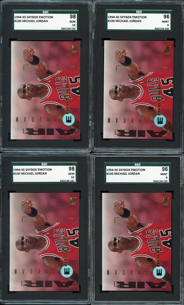 1994 Skybox Emotion #100 Michael Jordan Group of (4) Cards All Graded SGC 9 or 10