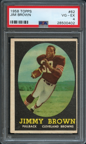 1958 Topps #62 Jim Brown PSA 4 VG-EX
