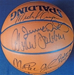 1987-88 Los Angeles Lakers Multi-Signed Official Basketball with (8) Signatures Featuring Abdul-Jabbar and Johnson UDA/SGC
