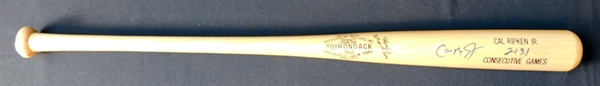 Cal Ripken Jr. Signed and Inscribed Commemorative Bat SGC