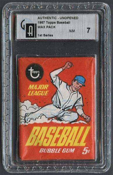 1967 Topps Baseball 1st Series Unopened Wax Pack GAI 7 NM