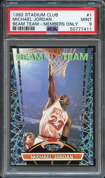 1992 Stadium Club #1 Michael Jordan Beam Team - Members Only PSA 9 MINT