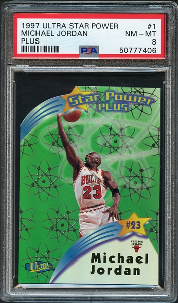1997 Ultra Star Power Michael Jordan Plus PSA 8 NM-MT