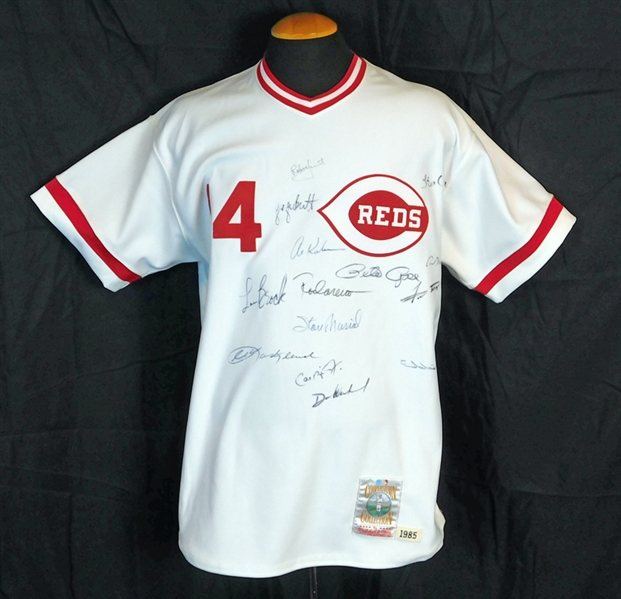 Outstanding Pete Rose Mitchell and Ness Jersey Signed by (14) Members of the 3000 Hit Club Featuring Brett, Musial, Ripken, Mays, Aaron, Etc. JSA