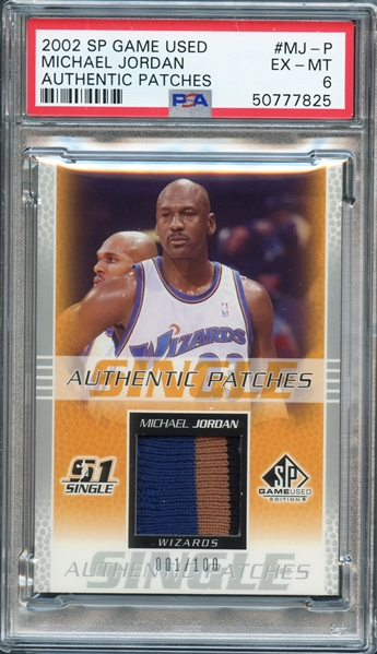 2002 SP Game Used #MJ-P Michael Jordan Authentic Patches PSA 6 EX-MT