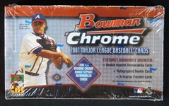 2001 Bowman Chrome Baseball Unopened Hobby Box-Possible Ichiro RC and Pujols Rookie Auto