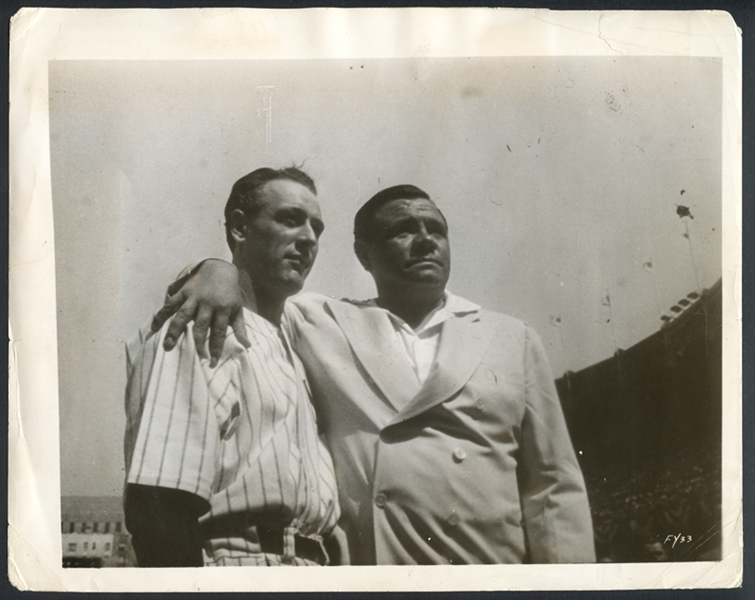 Babe Ruth and Lou Gehrig on Gehrigs Retirement Day Type III Original Photograph PSA/DNA