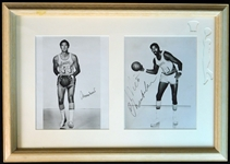 Jerry West and Wilt Chamberlain Signed 8x10 Photographs in Framed Display JSA