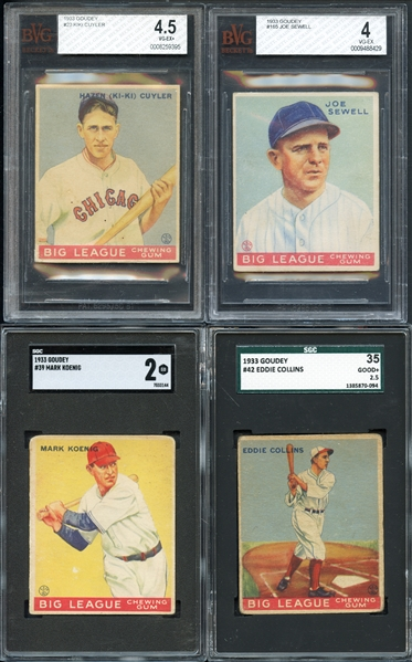 1933 Goudey Lot of (15) Graded Cards Includes HOFers