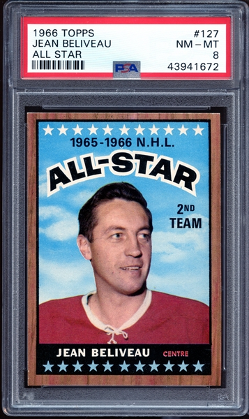 1966 Topps #127 Jean Beliveau All Star PSA 8 NM-MT