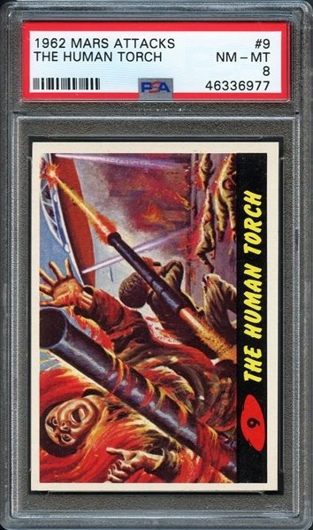 1962 Mars Attacks #9 The Human Torch PSA 8 NM-MT