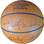 Los Angeles Lakers Stars Multi-Signed Basketball with (9) Signatures Featuring Chamberlain and West JSA