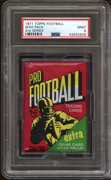 1971 Topps Football Series 2 Unopened Wax Pack PSA 9 MINT