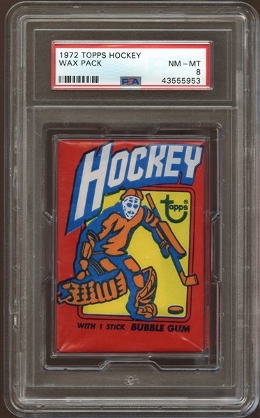 1972 Topps Hockey Unopened Wax Pack PSA 8 NM/MT
