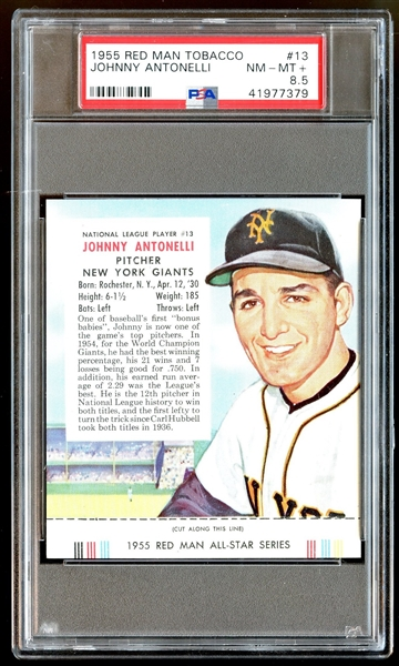 1955 Red Man Tobacco #13 Johnny Antonelli PSA 8.5 NM-MT+