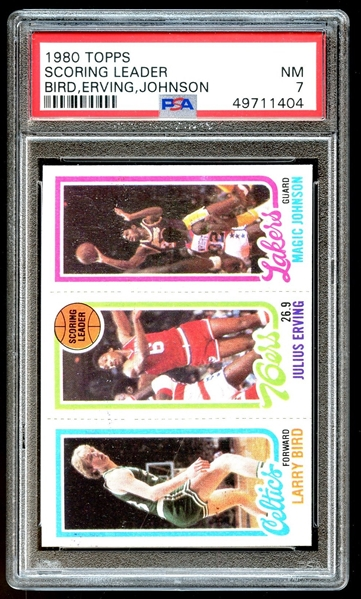 1980 Topps Scoring Leaders Larry Bird, Magic Johnson, Julius Erving PSA 7 NM
