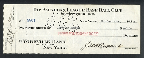 1922 Tillinghast Huston and Jacob Ruppert Signed and Cancelled Bank Check