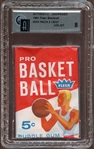 1961 Fleer Basketball Unopened 5-Cent Wax Pack GAI 8 NM/MT