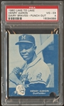 1960 Lake to Lake Hank Aaron Dairy Braves Punch Out PSA 4 VG-EX