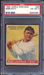 1934 World Wide Gum #28 Babe Ruth PSA 4 VG/EX