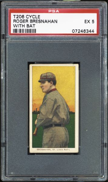 1909-11 T206 Cycle Roger Bresnahan With Bat PSA 5 EX
