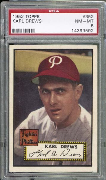 1952 Topps #352 Karl Drews PSA 8 NM/MT
