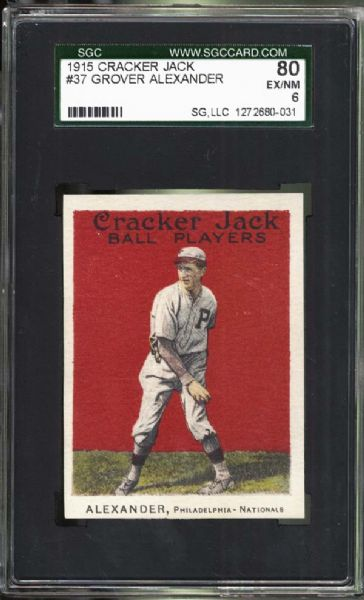 1915 Cracker Jack #37 Grover Alexander SGC 80 EX/NM 6