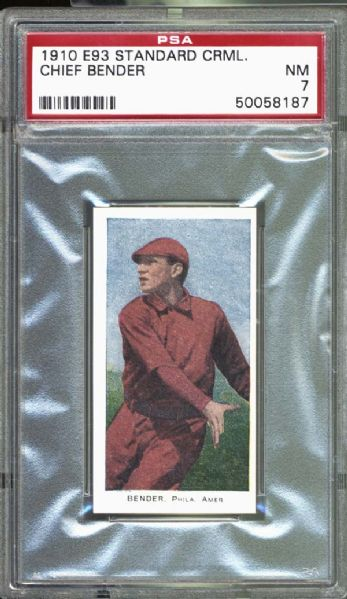 1910 E93 Standard Caramel Chief Bender PSA 7 NM