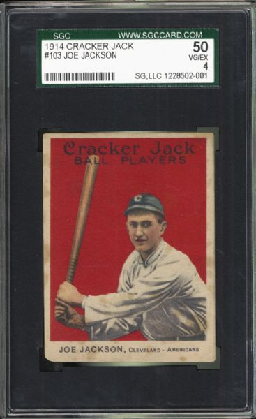 1914 Cracker Jack #103 Joe Jackson SGC 50 VG/EX 4