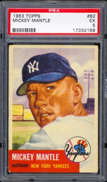 1953 Topps #82 Mickey Mantle PSA 5 EX
