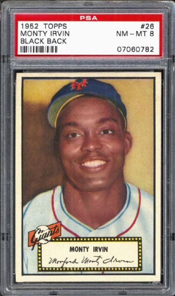 1952 Topps #26 Monty Irvin Black Back PSA 8 NM/MT