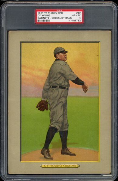 1911 T3 Turkey Red #42 Cy Young PSA 4 VG/EX