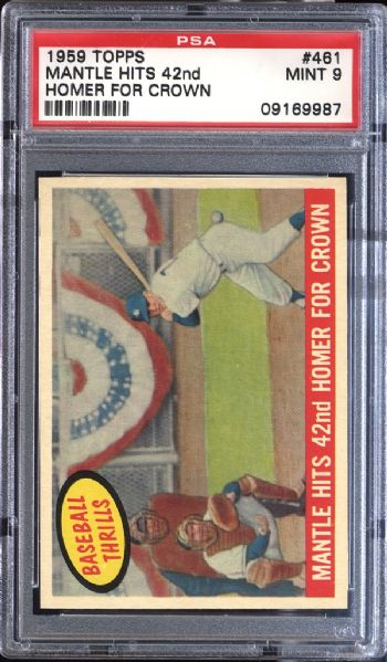 1959 Topps #461 Mantle Hits 42nd Home Run PSA 9 MINT