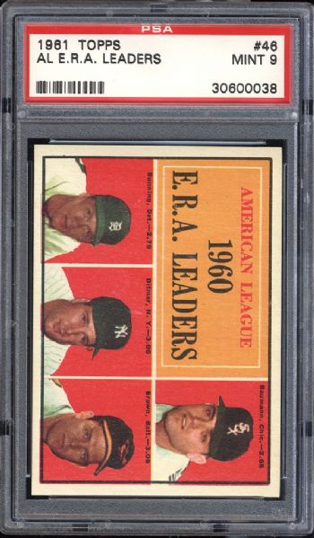 1961 Topps #46 A.L. ERA Leaders PSA 9 MINT