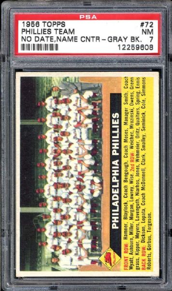 1956 Topps #72 Phillies Team PSA 7 NM