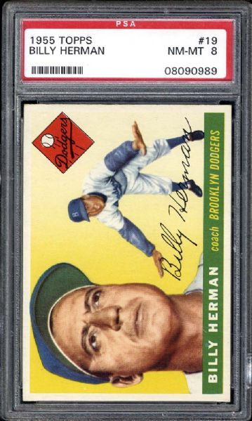 1955 Topps #19 Billy Herman PSA 8 NM/MT