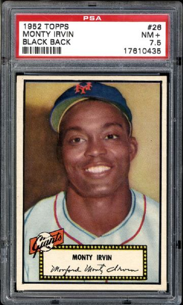 1952 Topps #26 Monty Irvin Black Back PSA 7.5 NM+