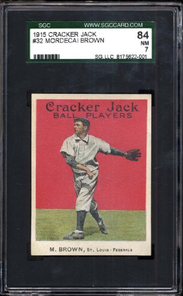 1915 Cracker Jack #32 Mordecai Brown SGC 84 NM 7