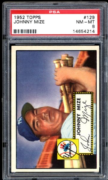 1952 Topps #129 Johnny Mize PSA 8 NM/MT