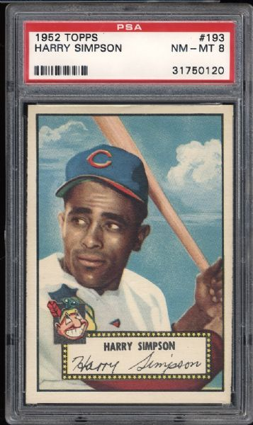1952 Topps #193 Harry Simpson PSA 8 NM/MT