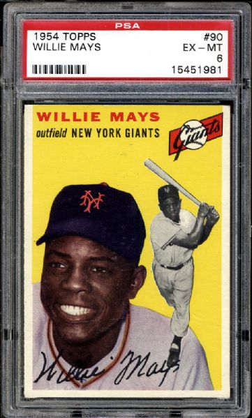 1954 Topps #90 Willie Mays PSA 6 EX/MT