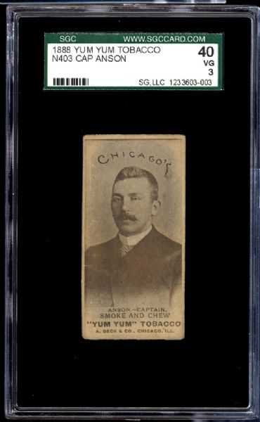 cap anson, vintage sports cards, yum yum