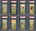 T201 Mecca Double Folders Group of 8 Graded Cards