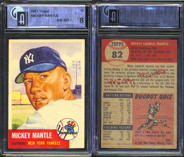 1953 Topps #82 Mickey Mantle GAI 8 NM-MT