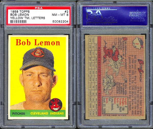 1958 Topps #2 Bob Lemon Yellow Team PSA 8 NM-MT
