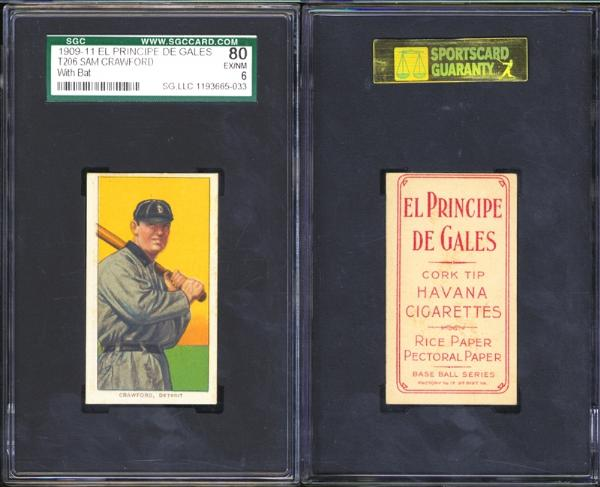 1909-11 T206 Sam Crawford With Bat El Principe de Gales SGC 80 (6) EX/NM