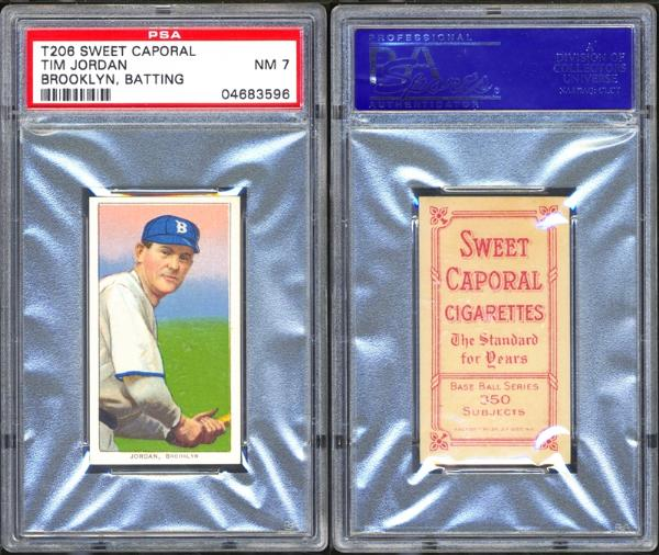 1909-11 T206 Sweet Caporal Tim Jordan Brooklyn Batting PSA 7 NM