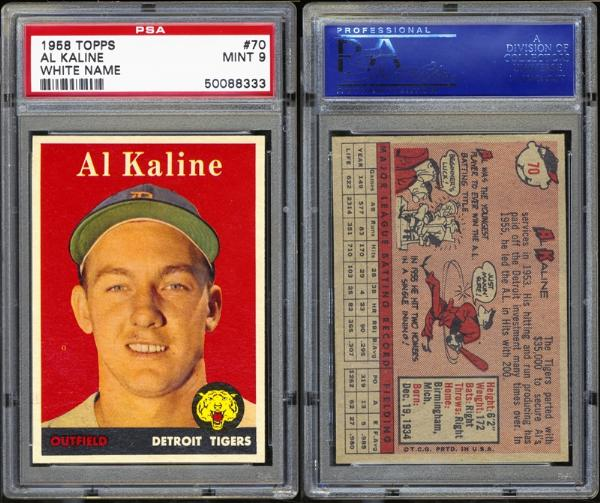 1958 Topps #70 Al Kaline White Name PSA MINT 9
