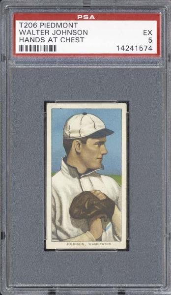 1909-11 T206 Piedmont Walter Johnson Hands at Chest PSA 5 EX